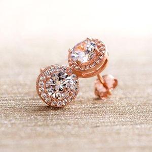 Rose Gold Halo Stud Earrings w/Swarovski Elements